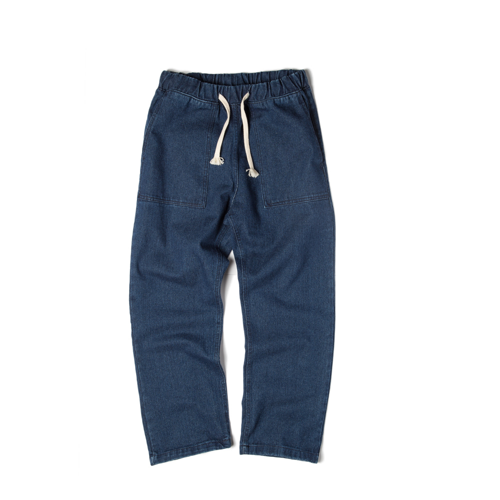 Solid Denim Easy Pants