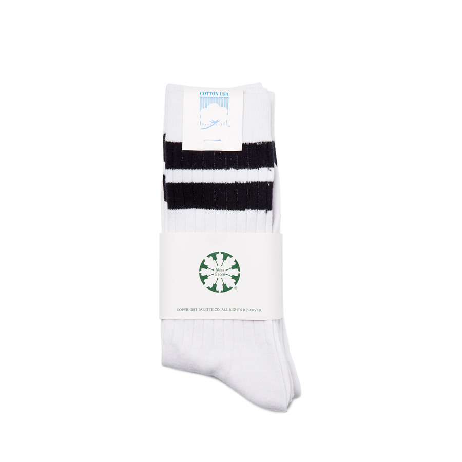 "Stripe Mid Socks 3Pcs ""BLACK"""