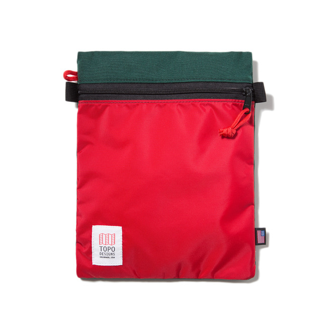 "Accessory Bags Large ""FOREST/RED"" Sale Now"