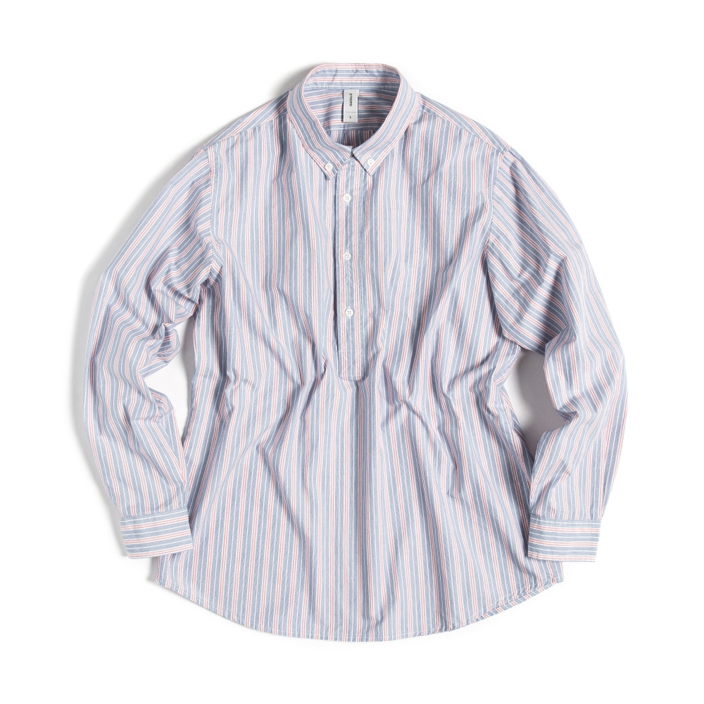 BUTTON DOWN SHIRTS(PULL-OVER)  MULTI STRIPE RED&BLUE