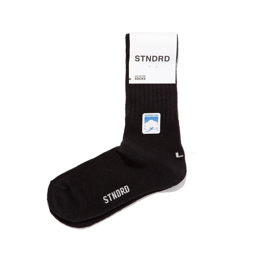 USA COTTON MID-LENGTH SOCKS : BLACK