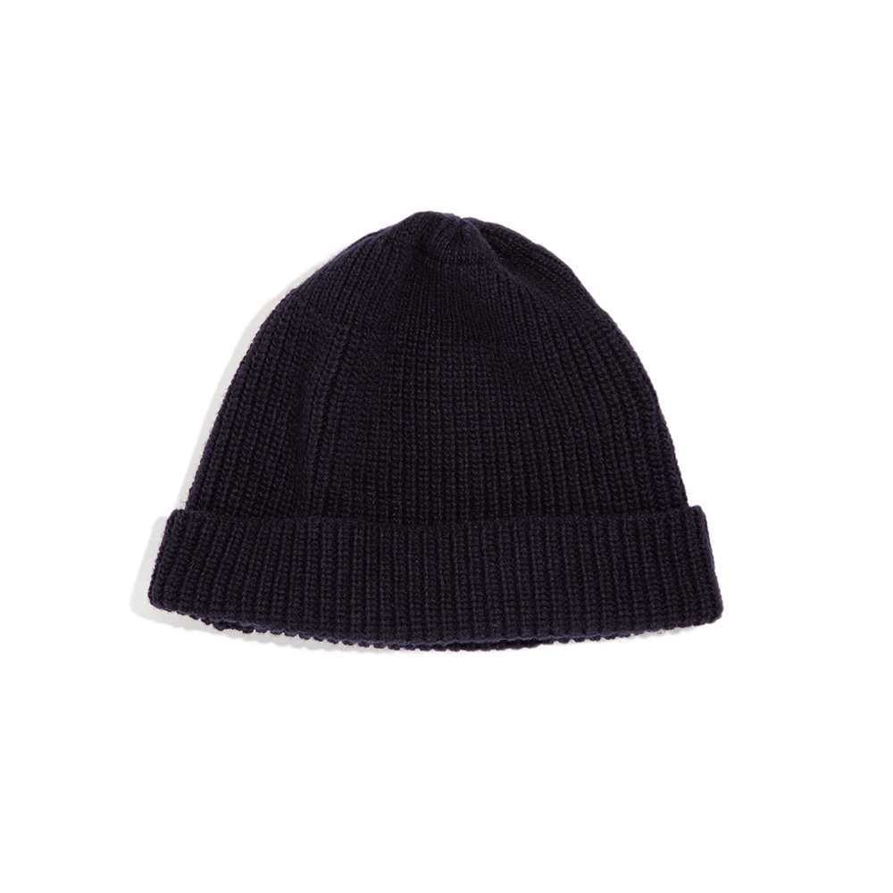 "Lammbs Wool Ribbed Beanie ""NAVY""램스울로 따뜻한 비니"