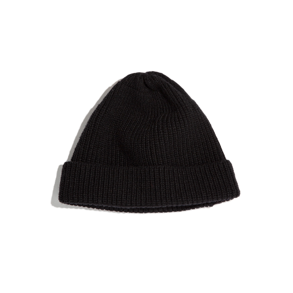 "Lammbs Wool Ribbed Beanie ""BLACK""램스울로 따뜻한 비니"