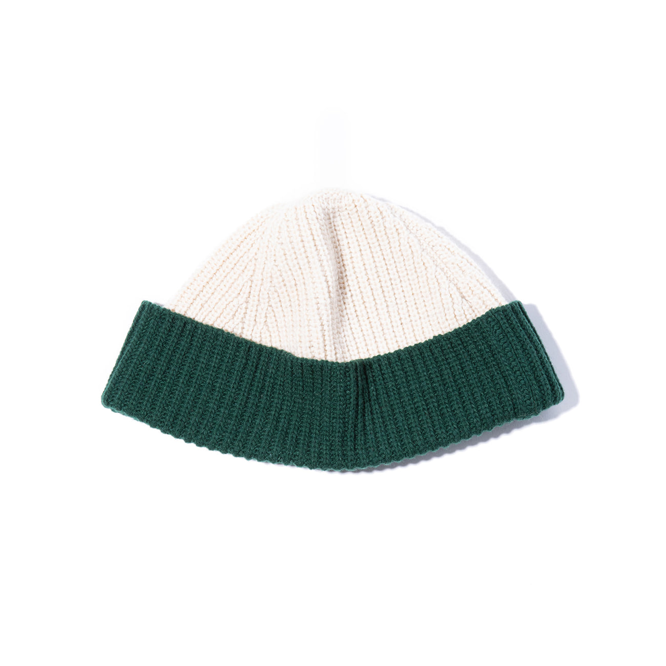 "2 Block Wool Beanie ""MOSS GREEN / IVORY"""